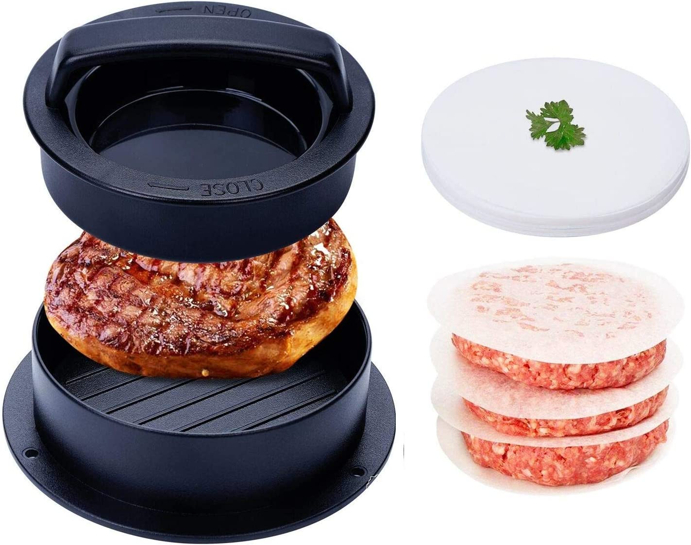 Black Cystarry 3-in-1 Stuffed Burger Press,Non-Stick Patty Mold for Making Stuffed Burgers,Sliders,Regular Beef Burger