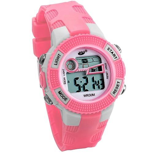 JewelryWe Relojes para Niños Niñas Reloj Deportivo Digital Para Aire Libre Reloj Infantil Rosa, 3ATM A Prueba de Agua Dibujos Animados: Amazon.es: Relojes