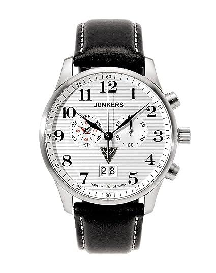 Junkers 6686-1 - Reloj de caballero de cuarzo, correa de piel color negro: Amazon.es: Relojes