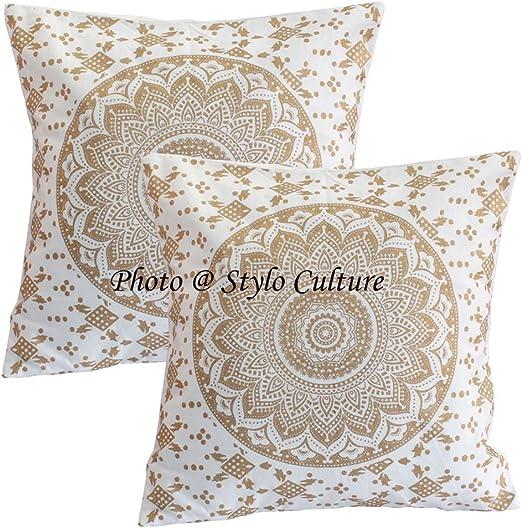 Stylo Culture Cojines Decorativos Indios Cubre Oro Impreso Floral ...