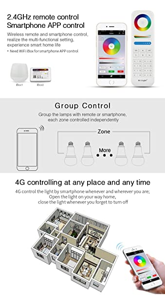 Light 12W RGBWW Smart WiFi Led Light Bulb E27 RGB+CCT Color Changing And  Color Temperature Changeable Must Work With Mi.Light 8-Zone Remote And  Smartphone ...