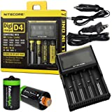 Nitecore D4 smart Charger 2015 version with LCD Display with 12V DC Cable & 2X EdisonBright AA to D Battery Converter Spacers