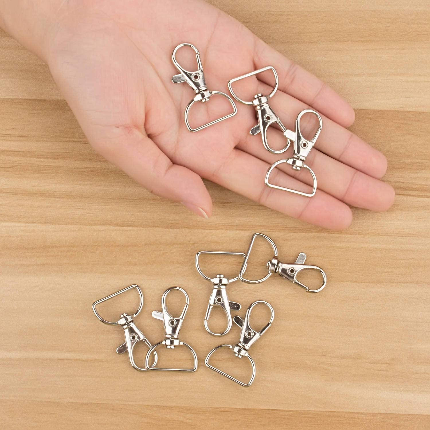 Acrux7 Swivel Clasps D Ring Metal Lobster Claw Clasps Lanyard Snap Hook for Crafting /& DIY Lanyard Making 100 Pack