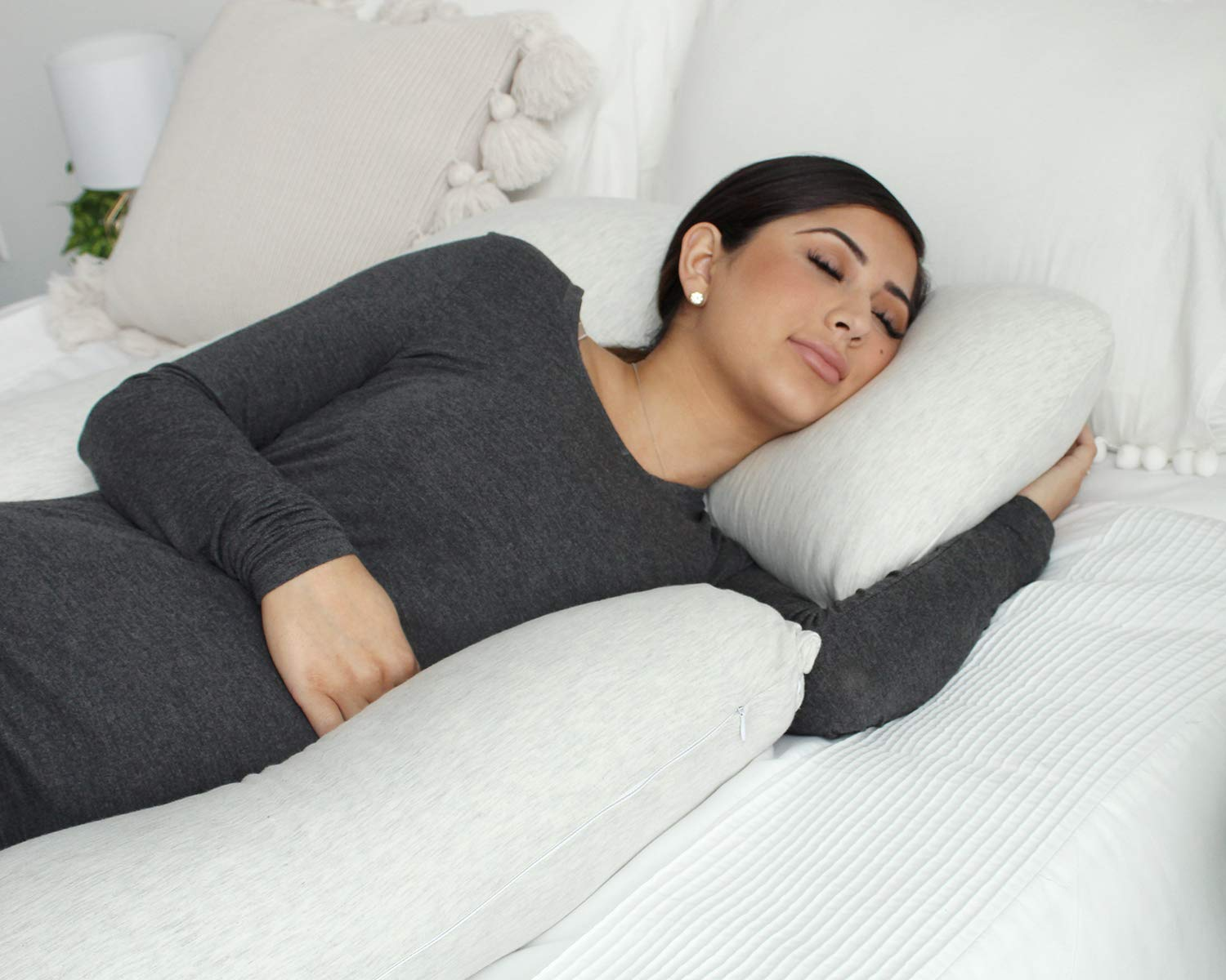 PharMeDoc Pregnancy Pillow, U-Shape Full Body Pillow and Maternity Support with Detachable Extension - Support for Back, Hips, Legs, Belly for Pregnant Women by PharMeDoc (Image #5)