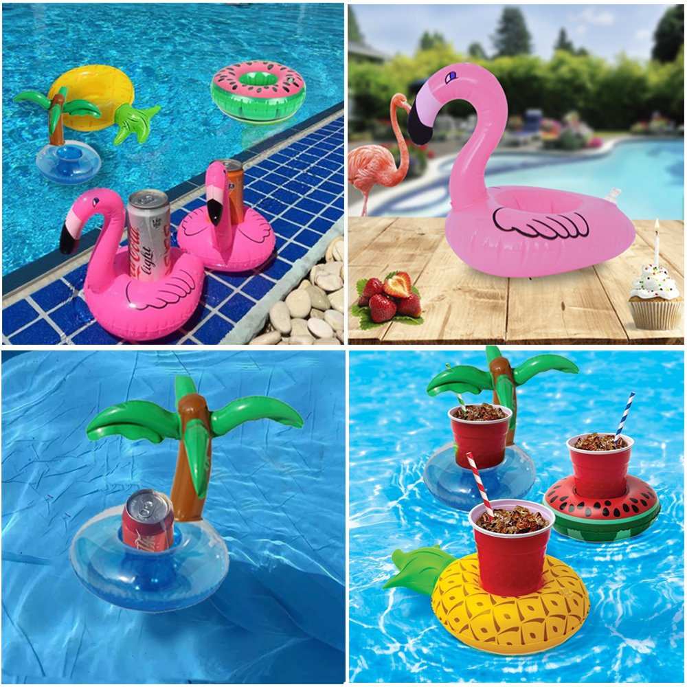 Sharlity 12 PACK Inflatable Drink Holder, Flamingo,Palm Tree,Pineapple, Watermelon,Inflatable Pool Cup Holders Coasters for Pool Party Water Fun