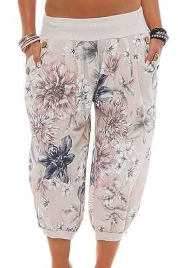 Femme Pantalon Culotte Bouffante Eté Fashion Vintage Fleur Motif Pantalon  Sarouel Elégante Style de fête Hippie Large Désinvolte Taille Élastique  Pantalon ... 7a0920616776