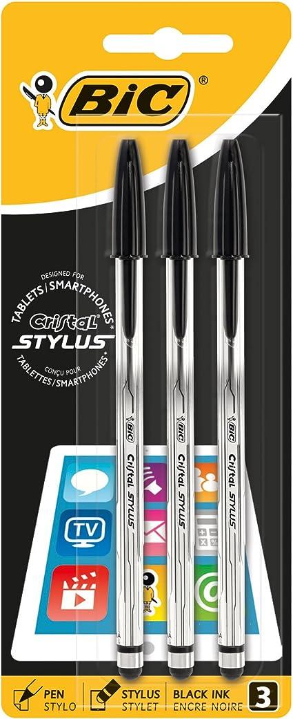 BiC Cristal Stylus - Pack de 3 bolígrafos 2 en 1 con tinta negra ...