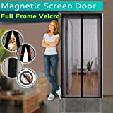 """Magnetic Screen Door ,Full Frame Velcro,3 Sizes Avaliable to Fits Door Up To 46""""x82"""",36""""x98"""",36""""x82"""",Instant Bug Mesh,Close Automatically Tightly Hands Free Black"""
