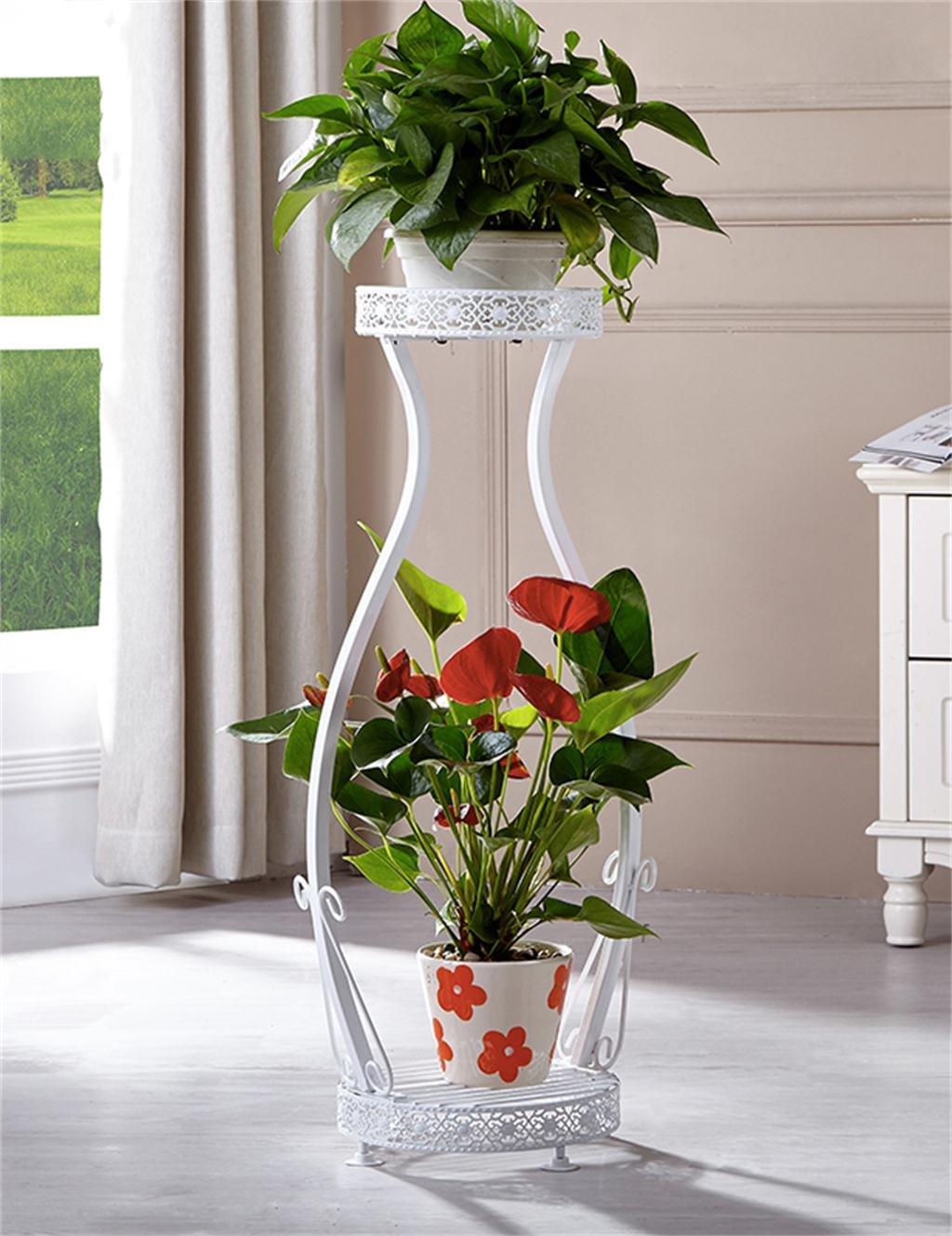 Europäische 2-Tier Schmiedeeisen Boden Flower Pot Regal, Pflanzen stehen, Blumenregal für Balkon, Indoor, Wohnzimmer Leiter ( farbe : Weiß , größe : L )
