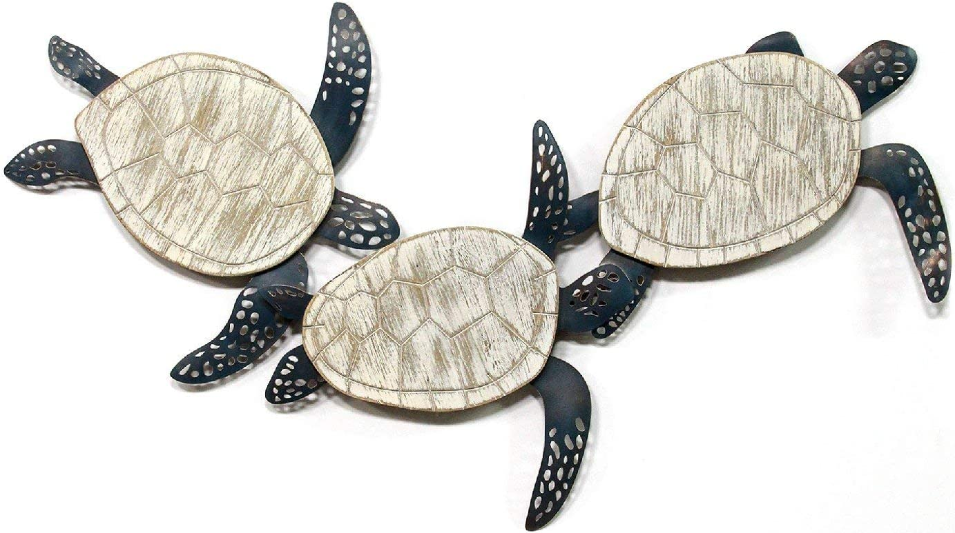 Stratton Home Décor Stratton Home Metal and Wood Carved Turtle Wall Decor, 36.00