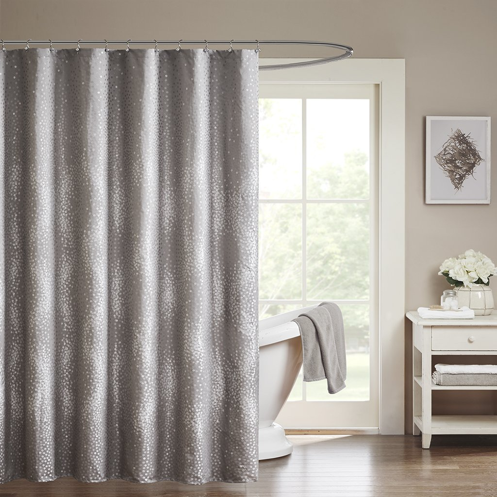 "Madison Park MP70-1919 Quinn Shower Curtain 72x72"" Grey"