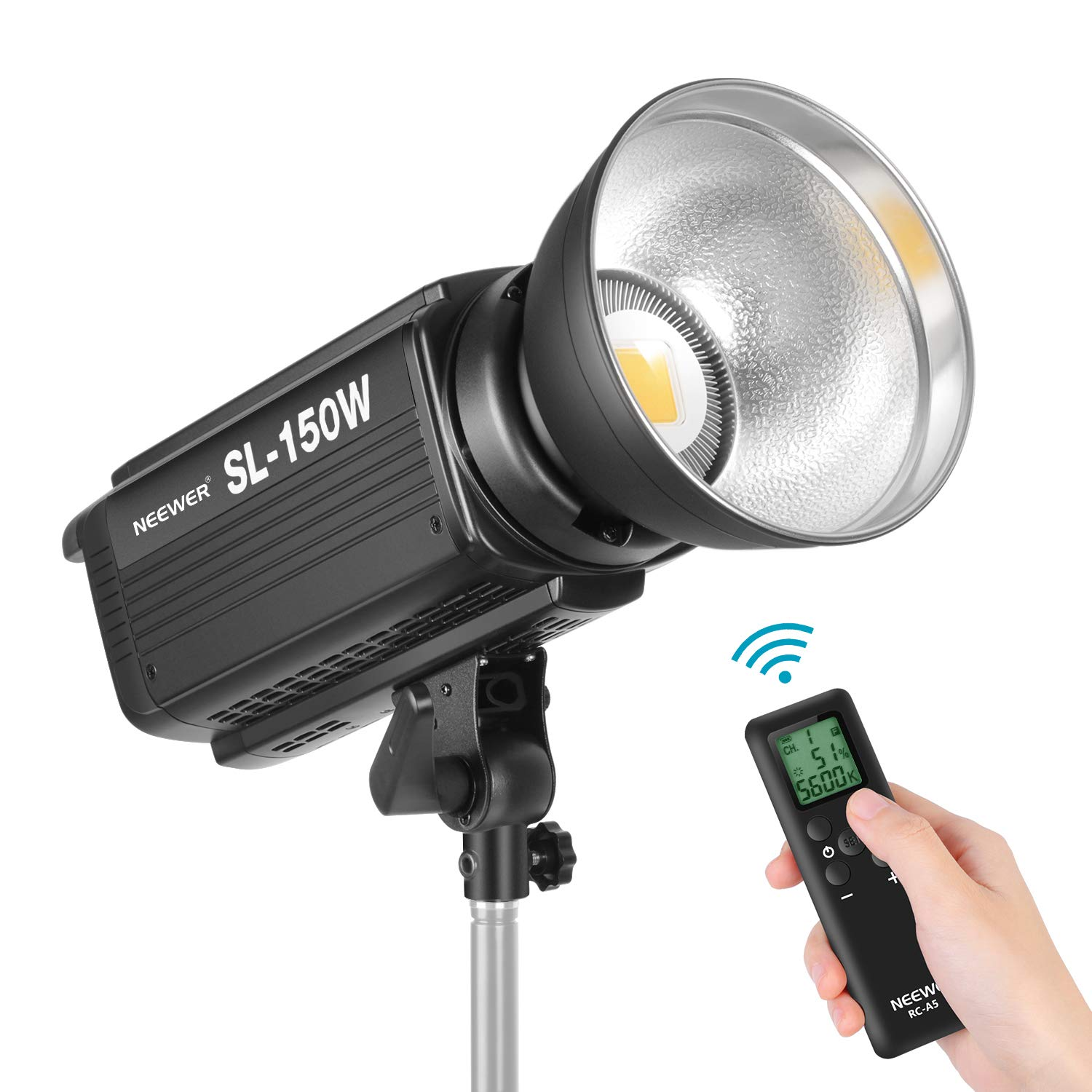 Neewer 150W 5600K Dimmable LED Video Light, RA 93+ 16000LM Continuous Lighting with Bowens Mount, 6 Groups 16 Channel Remote Control for Studio Video Lighting YouTube Vine Portrait Photography by Neewer