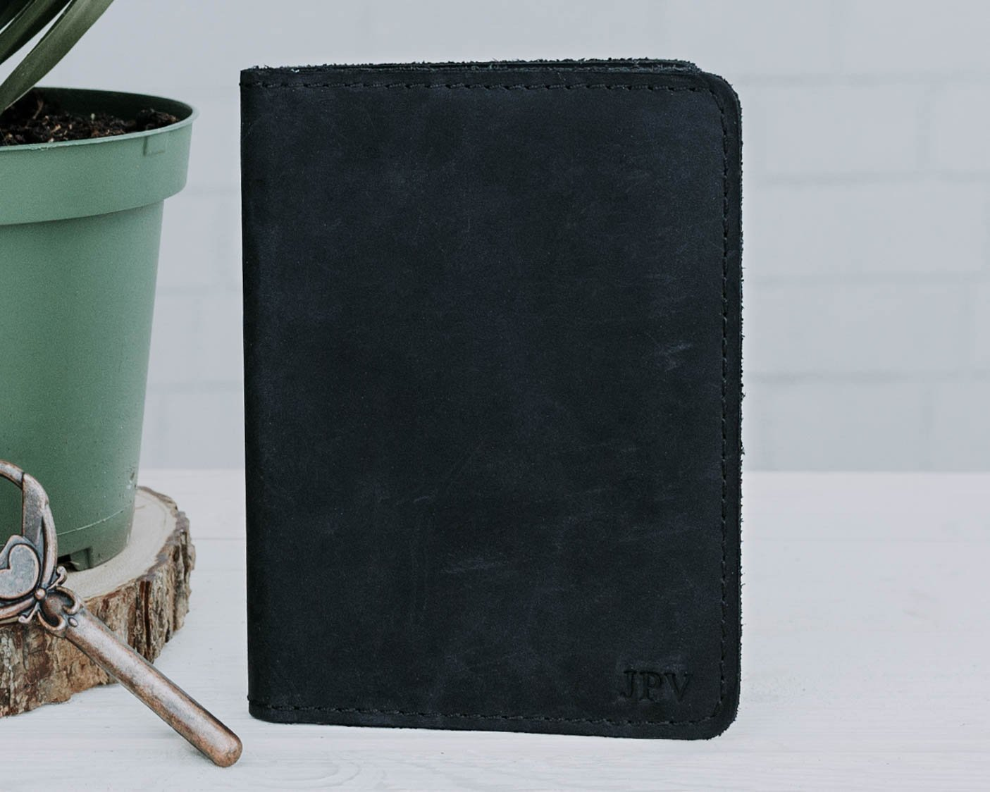 Personalized Passport Wallet, Handmade Distressed Leather Travel Wallet, Handcrafted Soft Leather Passport Holder, Rustic Passport Cover - Pike Charcoal Black
