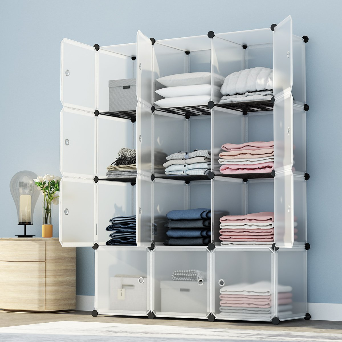 KOUSI Portable Storage Shelf Cube Shelving Bookcase Bookshelf Cubby Organizing Closet Toy Organizer Cabinet Transparent