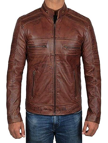 LO-SPAIN Chaqueta de Cuero Motera marrón para Hombre (Large)