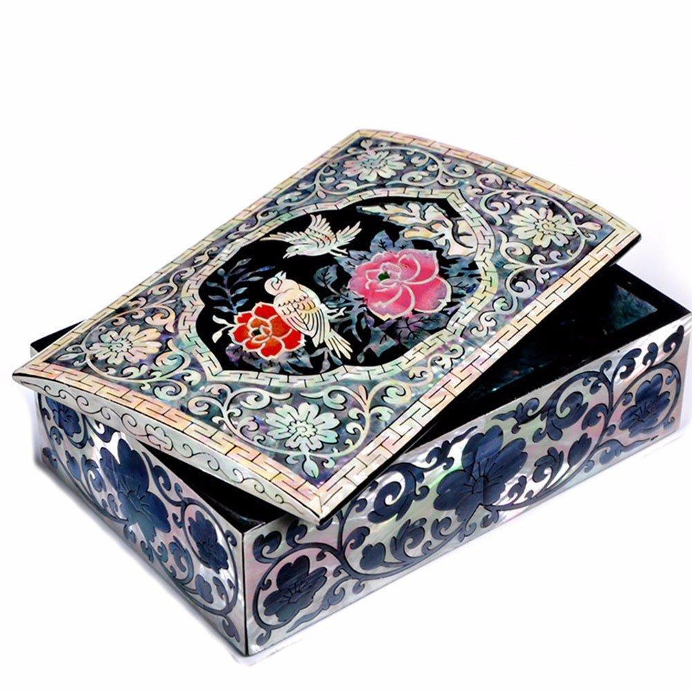 lzzfw Jewelry Box Christmas Gift Box Wooden Retro Princess Storage Box Travel Jewelry Box Cosmetic Box by Jewelry Box lzzfw