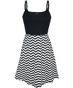 Pussy Deluxe Zig Zag Dress Mittellanges Kleid schwarz/weiß M