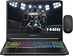 2020 Acer Predator 15.6 Inch 144Hz FHD 1080P Gaming Laptop, Intel Core i7-10750H up to 5.00 GHz, RTX 2060 6GB, 32GB RAM, 4TB PCIE SSD (Boot) + 1TB HDD, Backlit KB, Win10 + NexiGo Wireless Mouse Bundle