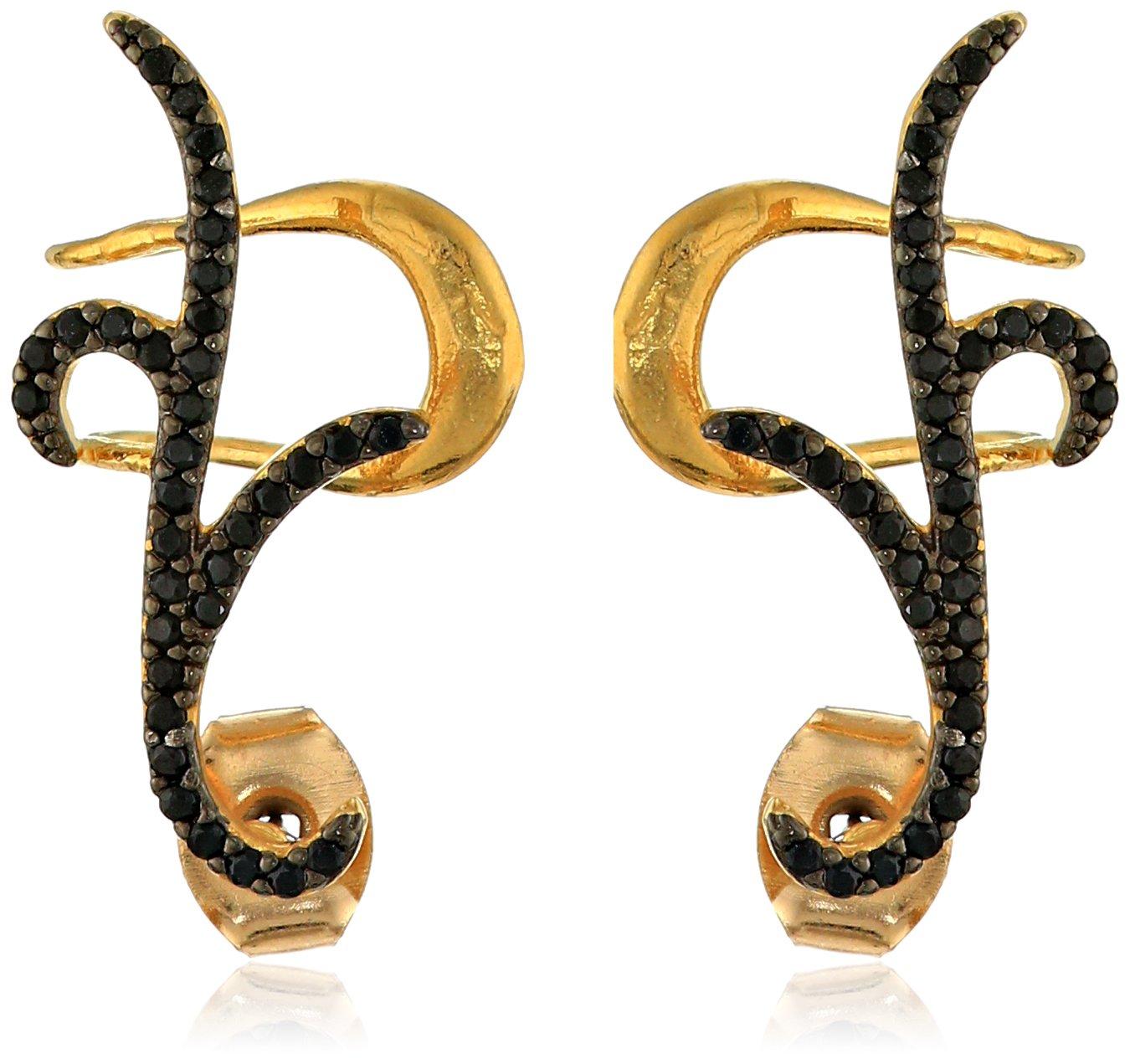 nOir Jewelry Pave Black Cubic Zirconia Ear Cuffs
