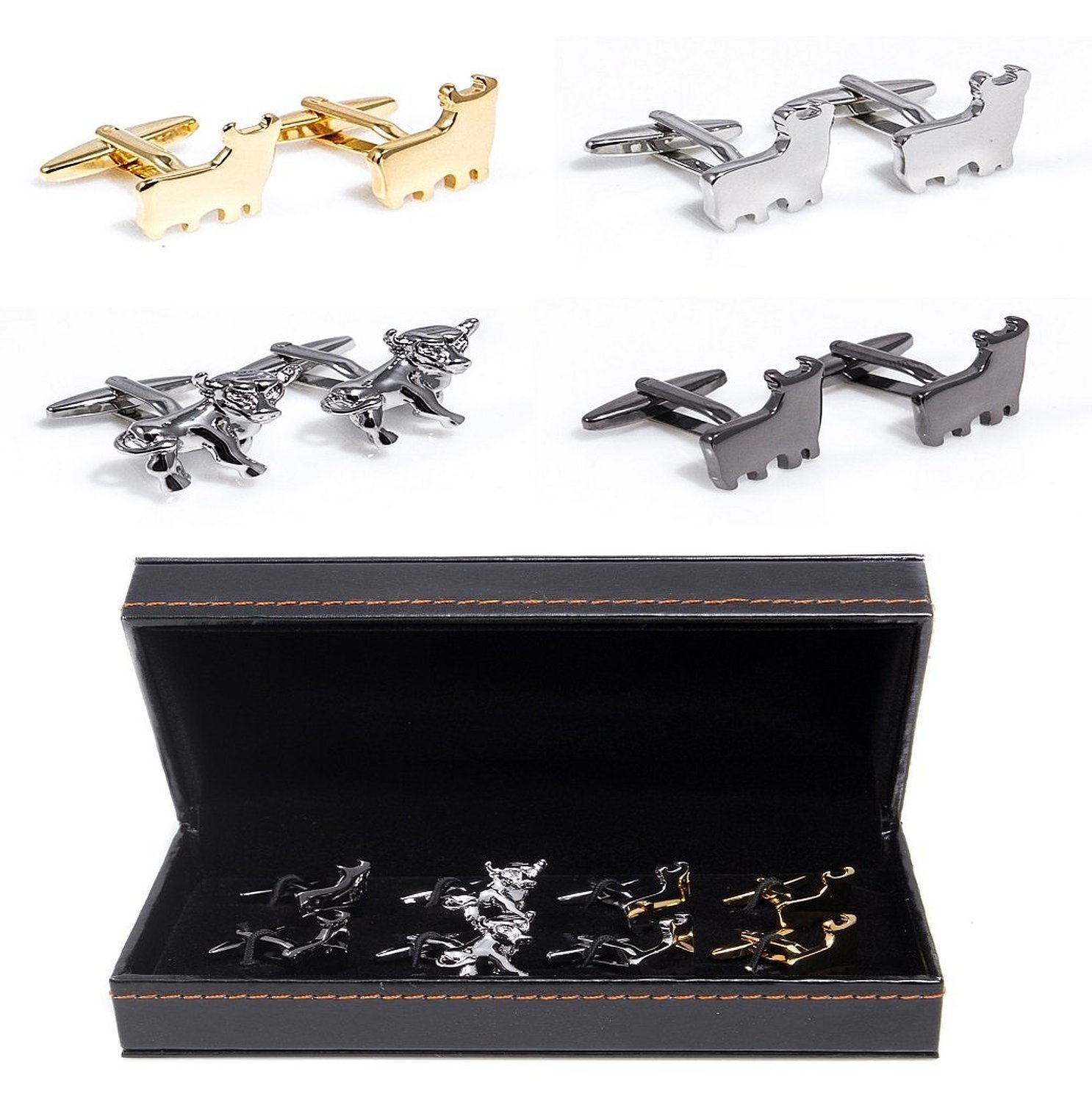 Mens Bulls Wall Street 4 Different Pairs Shirt Cufflinks With Presentation Gift Box Suit Wedding Business by Litter Star