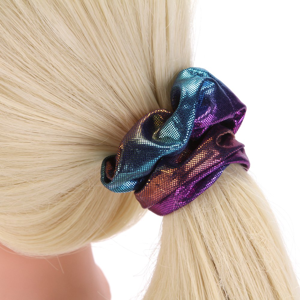 Amazon.com : LONEEDY 12 Pack Polyester Bright Silk Scrunchies Large Elastic Hair Ponytail Holder Hair Ties For Women Girls Thick hair band (B) : Beauty