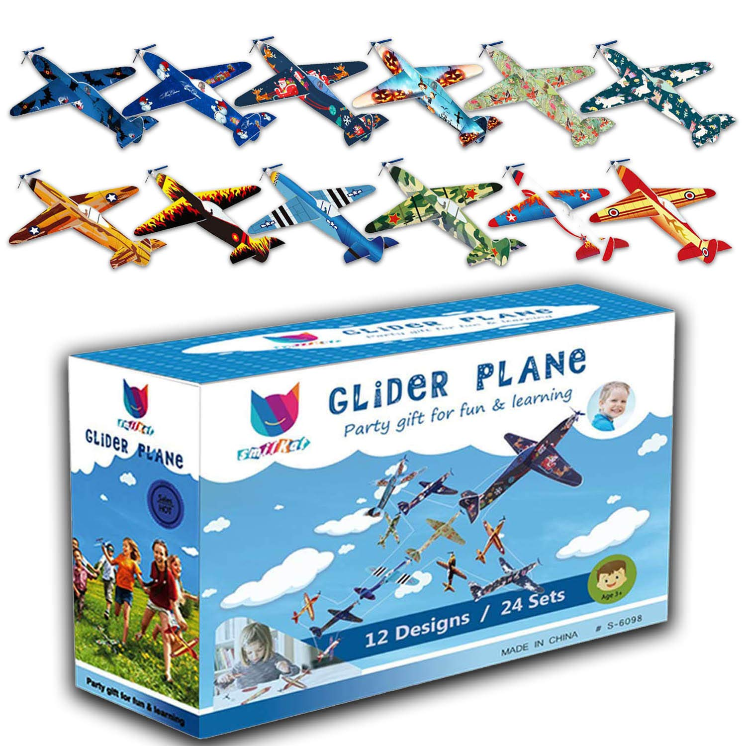 Smilkat Glider Plane Party Favors - 12 New Models 24 Pack 8 inch Flying Styrofoam Airplanes, Easy Assembly, Kids Toy for Birthday Party, School Classroom Rewards Carnival Prizes by Smilkat