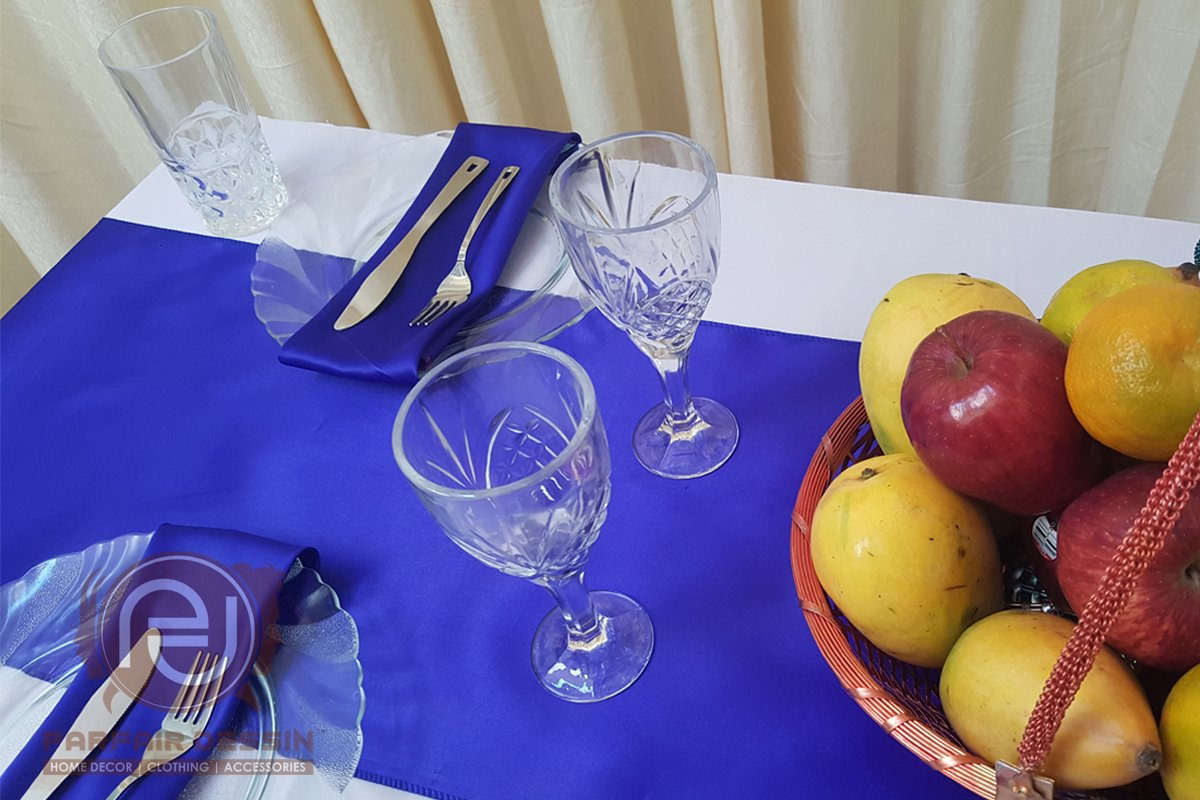 Parfair Dessin Pack of 10 Satin Table Runners 12 x 108 inch for Wedding Banquet Decoration, Bright Silk and Smooth Fabric Party Table Runner - Royal Blue by Parfair Dessin (Image #9)