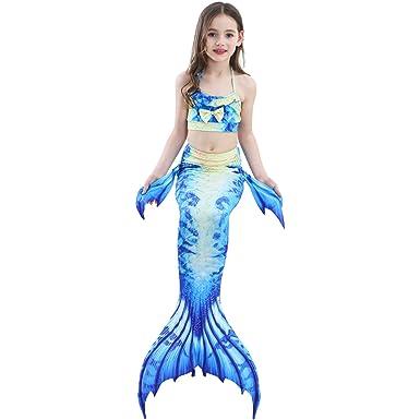 843b6fd7ba0 ChicChic Girl 3Pcs Mermaid Tail Swimmable Bikini Set Bathing Suit Swimwear  Halloween Costume Baby Girls