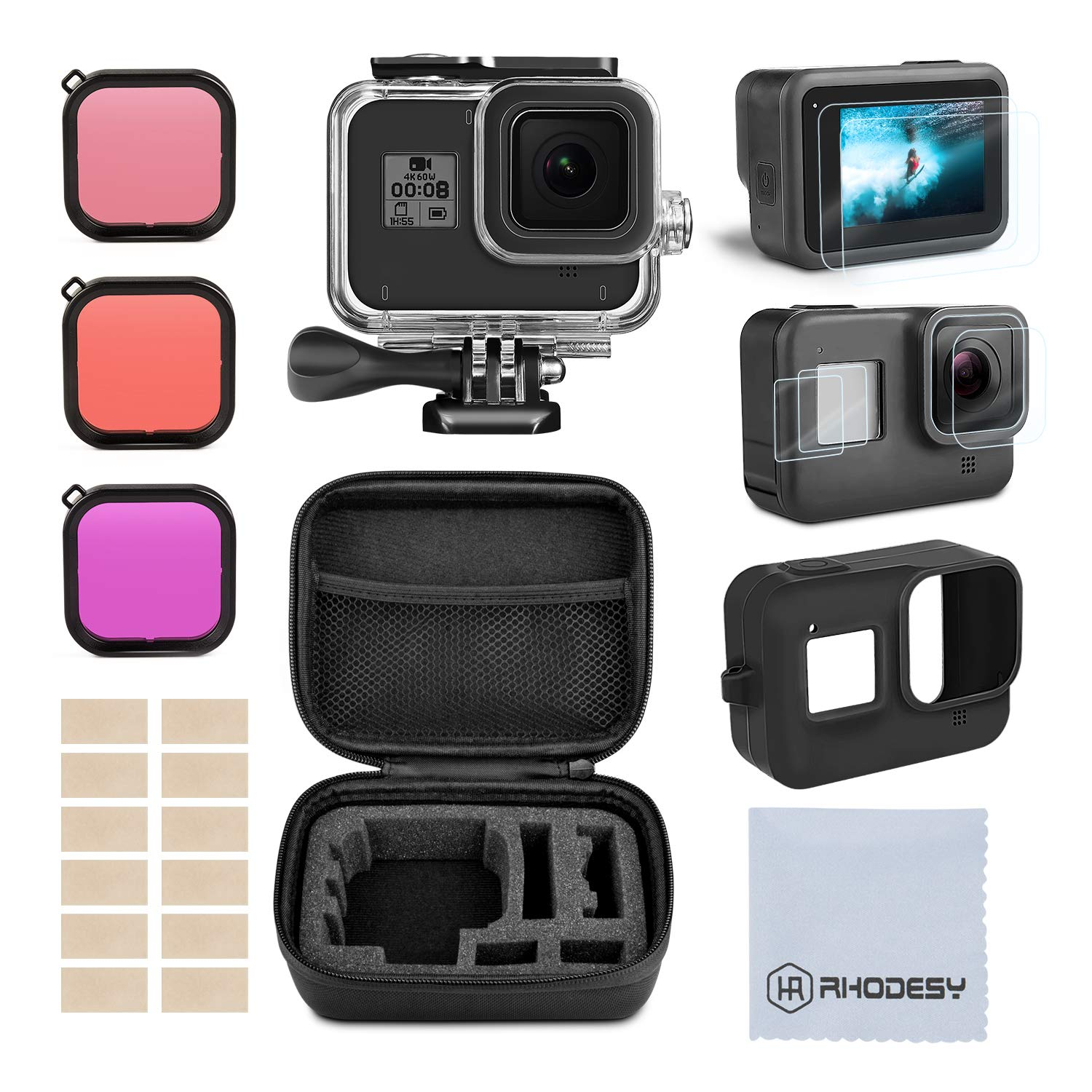 Accessory Kit for Gopro Hero 8, Rhodesy Housing Case and Filter Kit Including Waterproof housing case, Filter, Tempered Glass Screen Protector, Anti-Fog Inserts, Carrying Case for Gopro Hero 8 Camera by Rhodesy