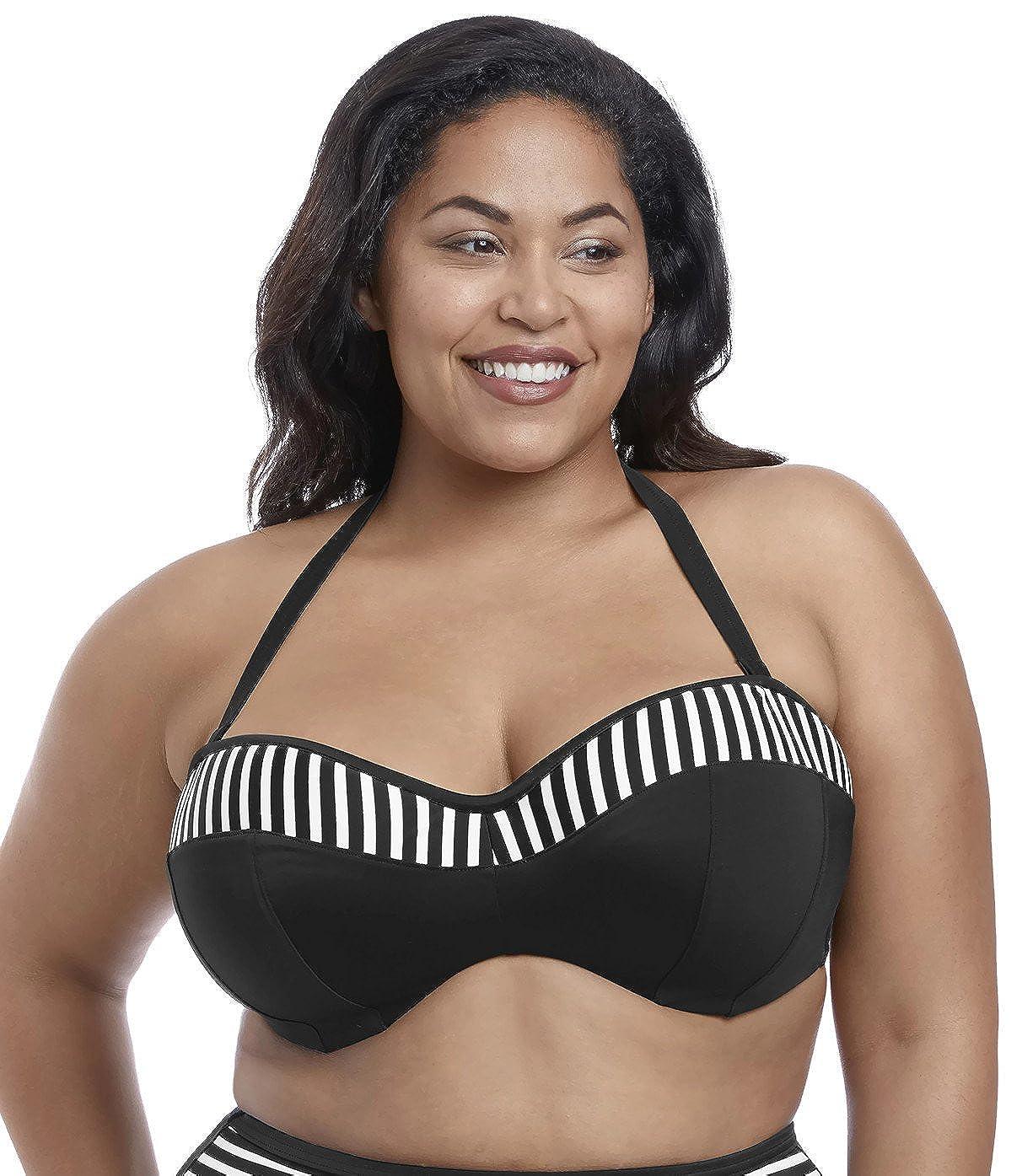 42GG, Black Elomi Swim Malibu Days Underwired Bandeau Bikini Top