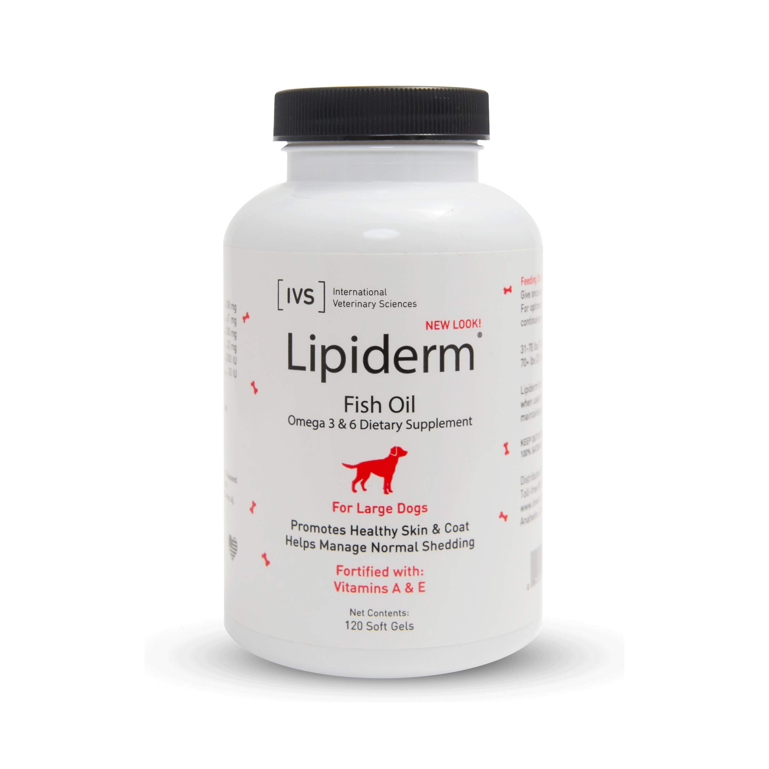 IVS Lipiderm Gel Cap Skin & Coat Supplement for Large Dogs, 120 Count by International Veterinary Sciences