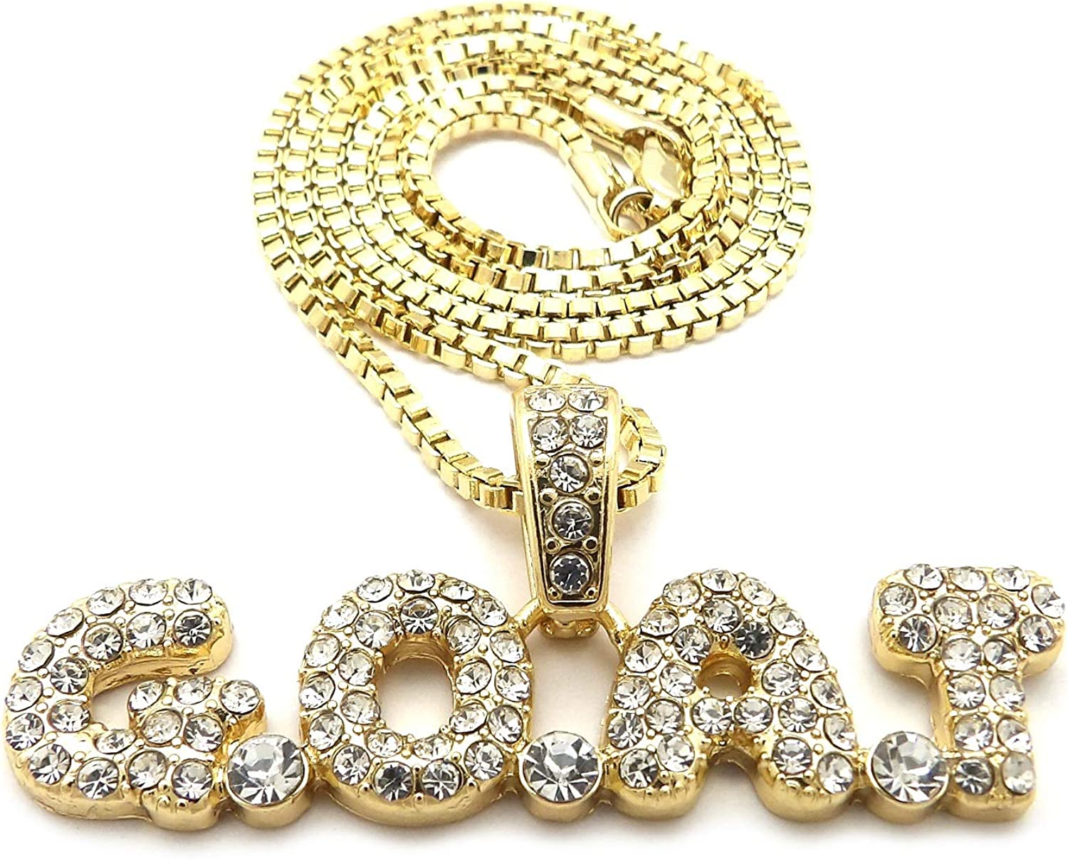 NYFASHION101 Stone Stud Bubble Letter G.O.A.T Pendant with 3mm Box Chain Necklace
