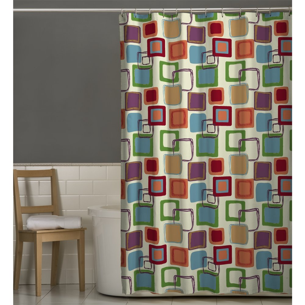 Amazoncom Maytex Squares Fabric Shower Curtain Multi Home - Brown and turquoise shower curtain
