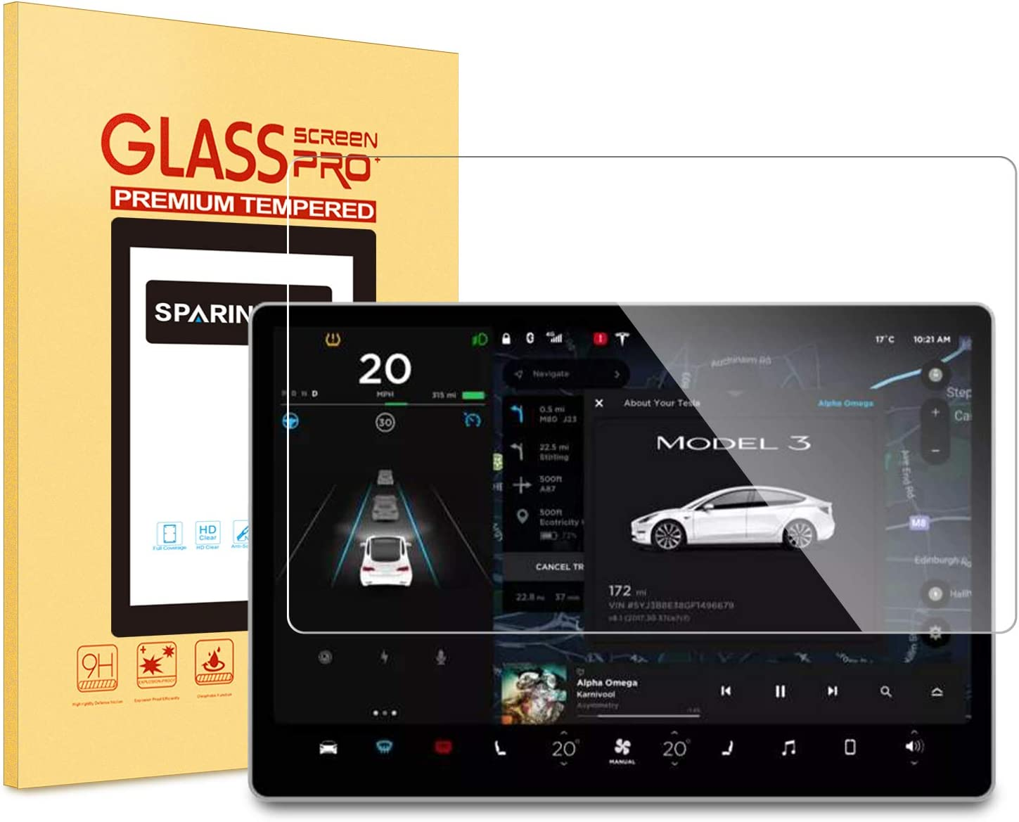9H Tempered Glass//Anti-Glare//Scratch Resistant SPARIN Screen Protector for Tesla Model 3 Central Control 15 inch Touchscreen Car Navigation Screen