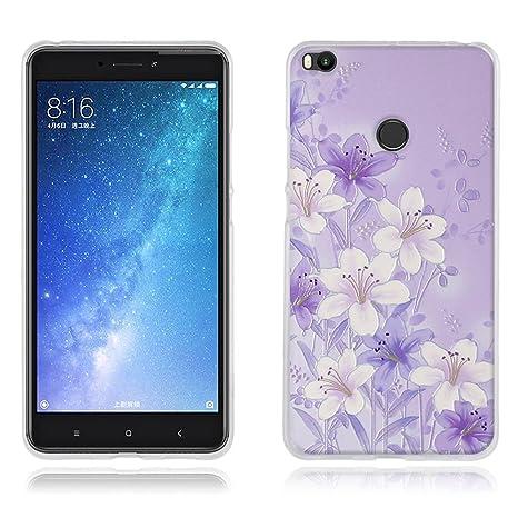 FUBAODA Funda Xiaomi Mi MAX 2 Carcasa Ultra Fino de Cristal Claro, Elegante Modelo de Flor Púrpura, Duradera, Suave, [Protección con Goma Funda para ...