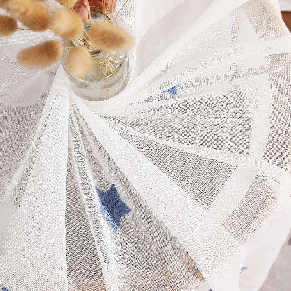 MIULEE Lot de 2 Voilages /à Oeillet Moustiquaire Broderie en Polyester Motifs de Petits Etoiles Voile Rideaux de Fen/être D/écoratives pour Salon Chambre Jaune 145 X 140cm H x L