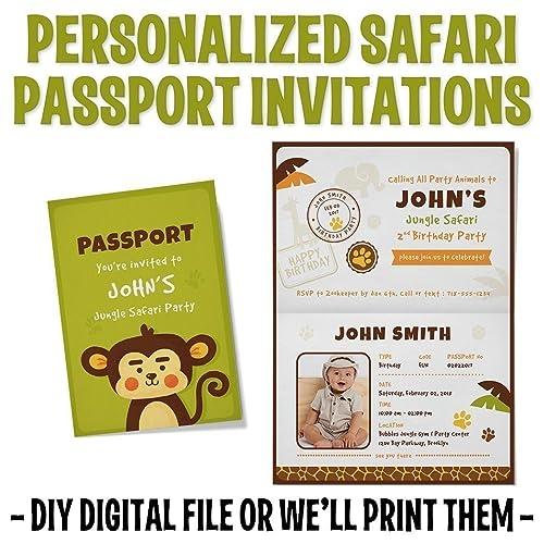 Amazon Custom Personalized Monkey Safari Birthday Invitations