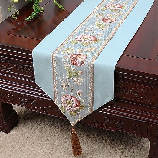 Caminos de mesa de alta calidad Luz azul patrón de flores de moda ...