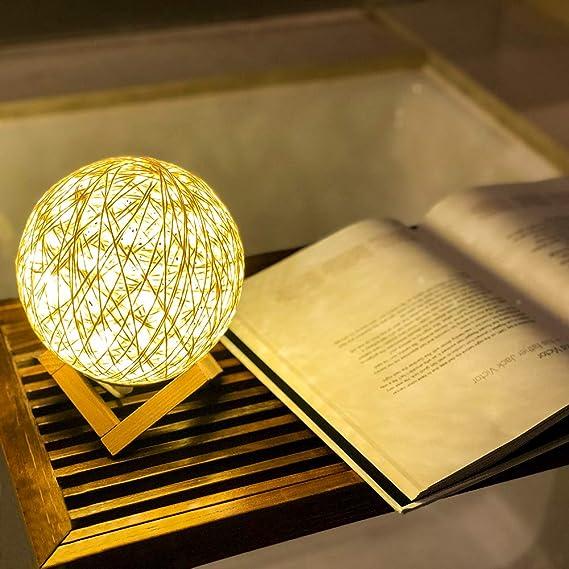 Amazon.com: Lintat - Lámpara de noche de bola de ratán ...