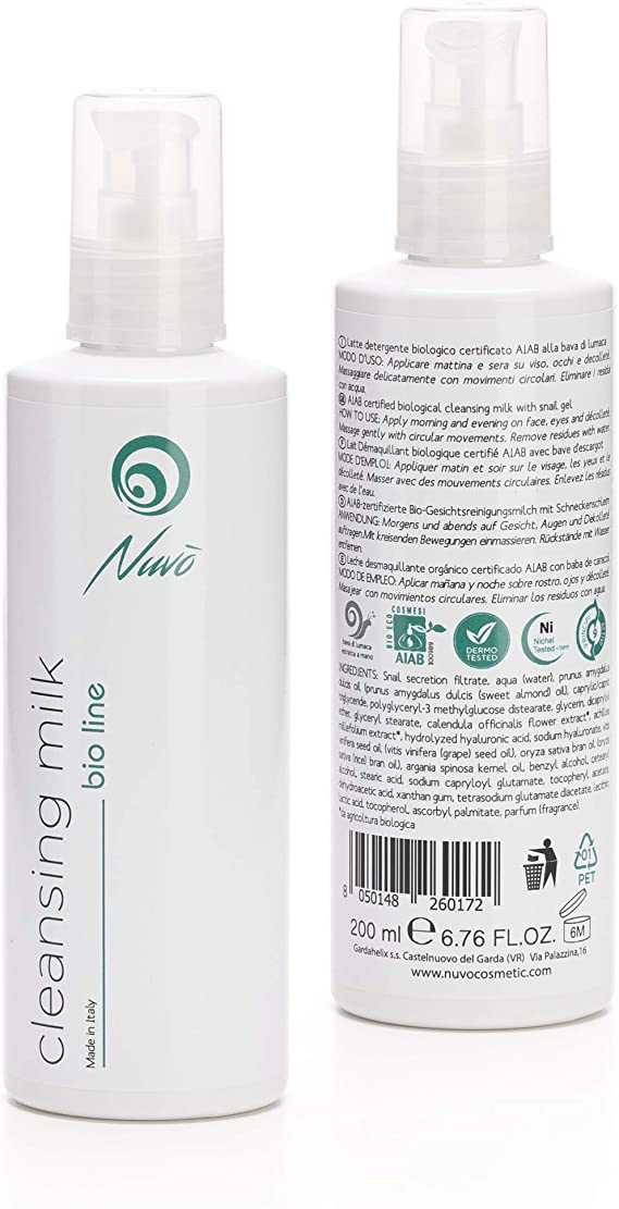 Nuvo Baba de caracol Leche limpiadora facial Orgánico Certificado AIAB con ácido hialurónico Extracto de caléndula Vitamina E Made in Italy 200 ml