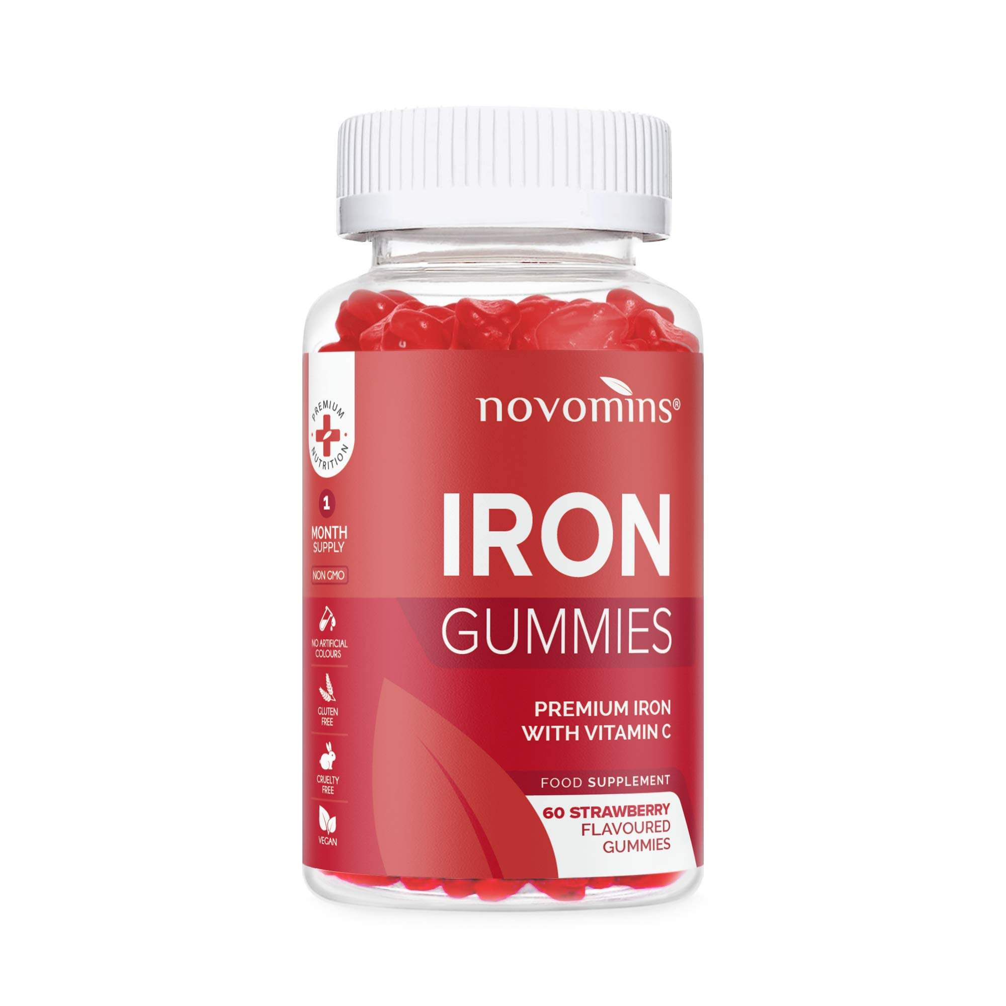 Vitamin C - Iron Gummies - Vitamin C Gummies - Chewable Vitamin C - High Strength Strawberry Flavoured Supplement - Vitamin C Nutrition - Made in UK by Novomins
