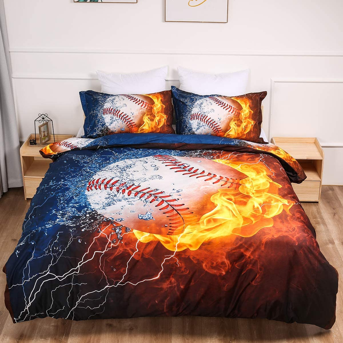 Baseball Duvet Cover Queen 3D Printed Ice and Fire Baseball Bedding Set 3 Pieces Microfiber Comforter Cover Set with 2 Pillowcases Sports Duvet Cover for Baseball Fans Boys Girls 90x90