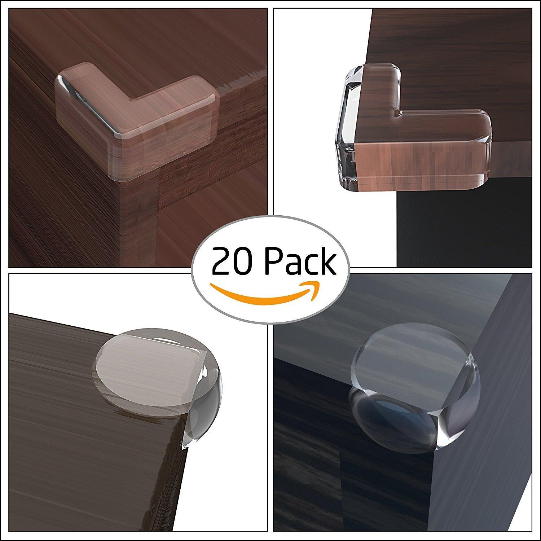 20pcs 20 Pack Pre-tape Edge Corner Guard Anti-Collision Baby Safety Adhesive L/&Ball Shaped Corners Padding Tap4Goods T4G-ECG-FBA