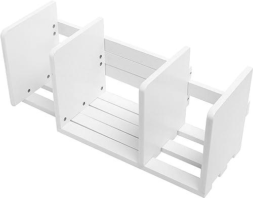 Expandable Wood Desktop Bookshelf Adjustable Storage Organizer Display Shelf Rack, White