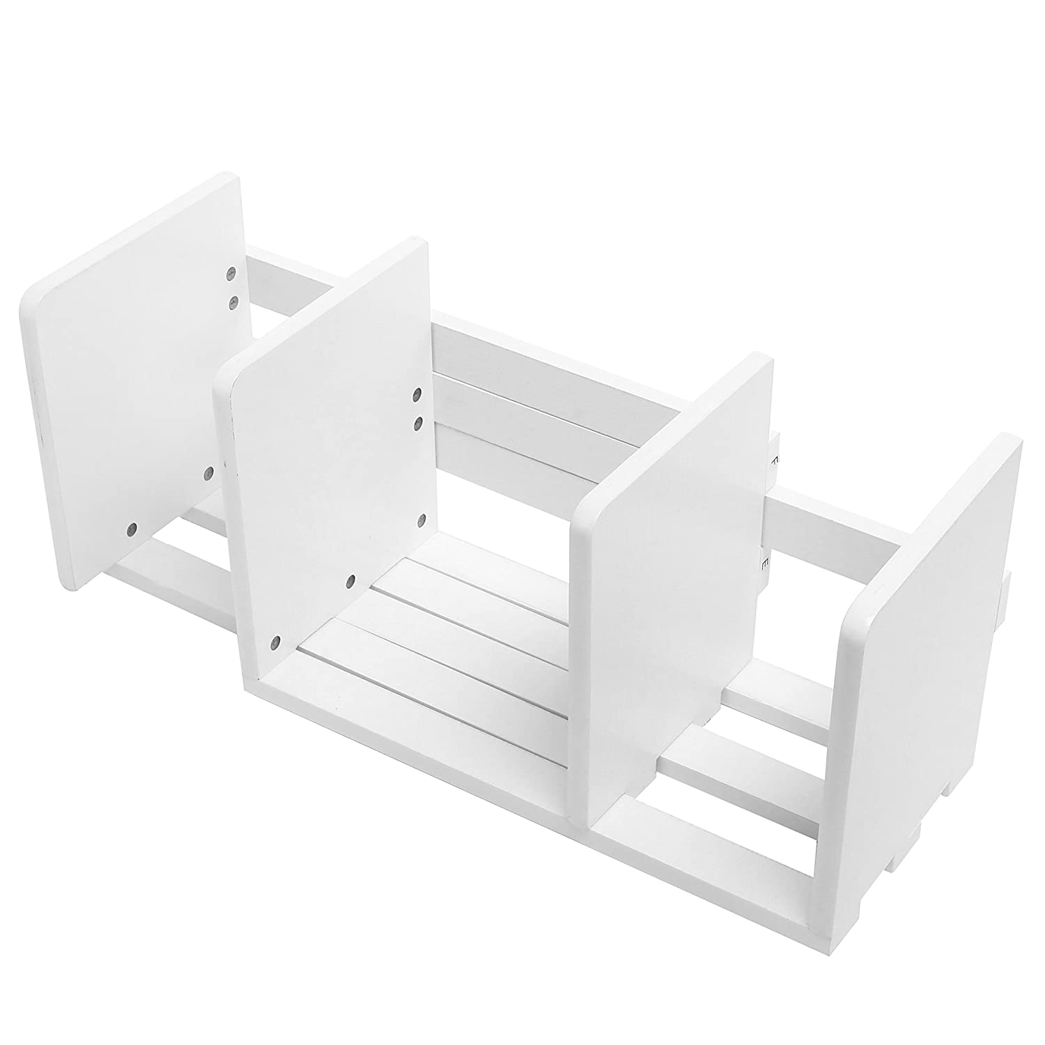 Expandable Wood Desktop Bookshelf/Adjustable Storage Organizer Display Shelf Rack, White