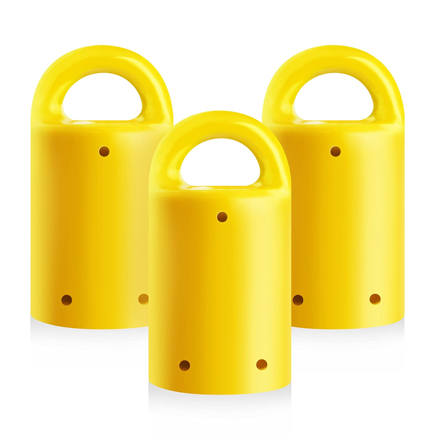 MagnetPal 3 pack Heavy Duty Neodymium Anti Rust Magnet Best for Magnetic Stud Finder Key Organizer Indoor and Outdoor Multi Uses Yellow with Key Ring SP MPM3YL