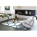 Ideal Hudson Shag Collection Moroccan Trellis White and Blue 5x7 Living Room Shag Area Rugs 5x8 Shag Carpet Bedroom and Office Shaggy Rugs