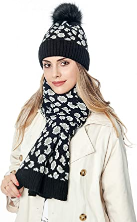 Winter Hat Scarf and Gloves Set for Women Warm Knitted Infinity Leopard Print