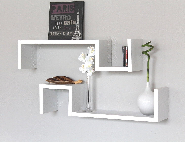 SET 7 MENSOLE Design BIANCHE Mensola a Parete Camera Legno Bianco ...