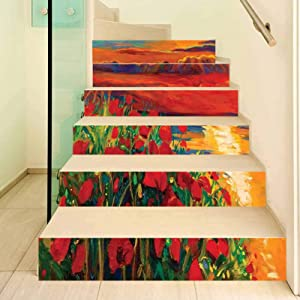 Flower 3D Stair Stickers Decals-6Pcs/Set,Oil Painting View Stone Stairs in the Greek Garden Greenery Forest Picture Stair Risers Stickers Removable Staircase Decals Mural Wallpaper for Home Decor